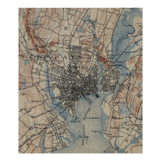 Vintage Map of New Haven Connecticut (1890) Poster