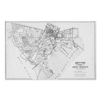 Vintage Map of New Haven Connecticut (1893) BW Poster