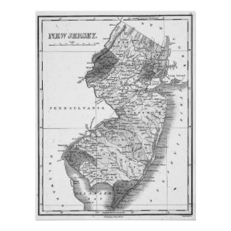 Vintage Map of New Jersey (1827) BW Poster