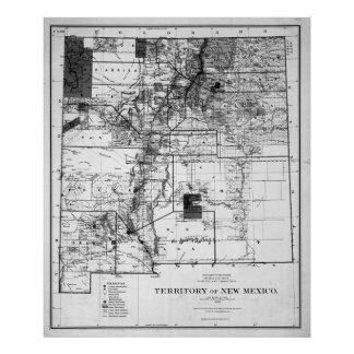 Vintage Map of New Mexico (1882) BW Poster