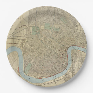 Vintage Map of New Orleans (1919) Paper Plate