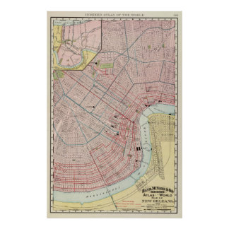 Vintage Map of New Orleans Louisiana (1897) Poster