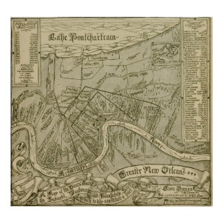 Vintage Map of New Orleans Louisiana (1919) Poster