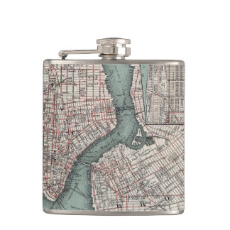 Vintage map of New York (1897) Flasks