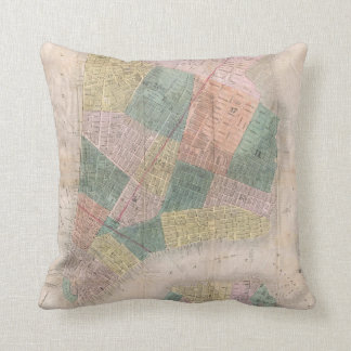 Vintage Map of New York City (1835) Throw Pillow