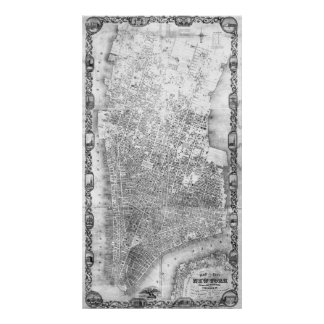 Vintage Map of New York City (1852) BW Poster