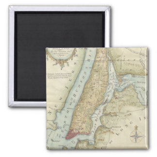 Vintage Map of New York City (1869) Square Magnet