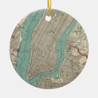 Vintage Map of New York City (1890) Ceramic Ornament