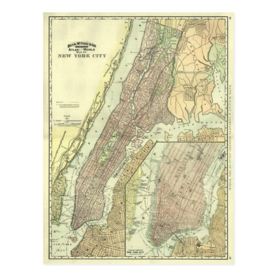 Vintage Map of New York City Manhattan Postcard