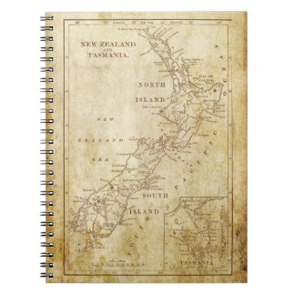 Vintage map of New Zealand c1879 Spiral Notebook