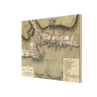 Vintage Map of Newport Rhode Island (1777) Canvas Print