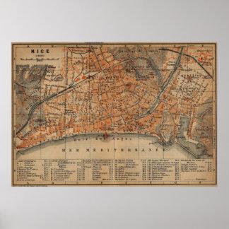 Vintage Map of Nice France (1914) Poster