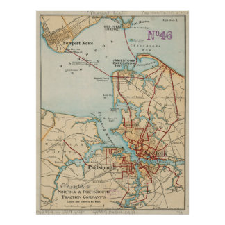 Vintage Map of Norfolk and Portsmouth VA (1919) Poster