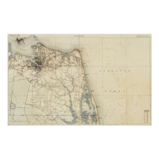 Vintage Map of Norfolk and Virginia Beach (1891) Poster
