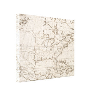 Vintage Map of North America (1719) Canvas Print