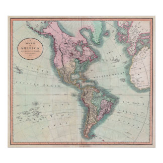 Vintage Map of North and South America 1806 Poster