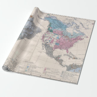 Vintage Map of North and South America 1880 Wrapping Paper