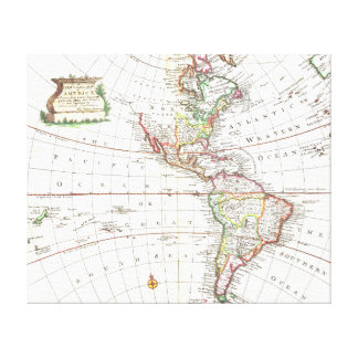 Vintage Map of North and South America Canvas Print