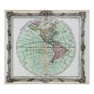 Vintage Map of North and South America Globe 1764 Poster