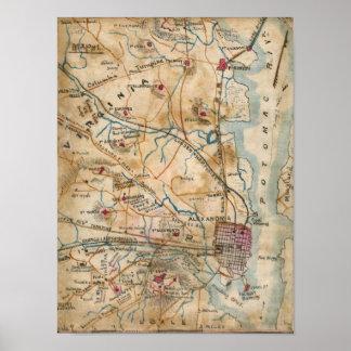 Vintage Map of Northeastern Virginia (1862) Poster