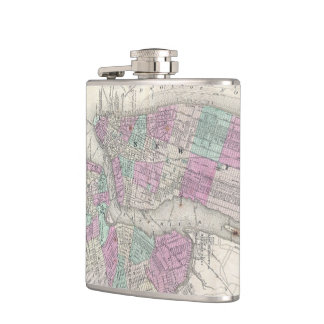 Vintage Map of NYC and Brooklyn (1866) Flasks
