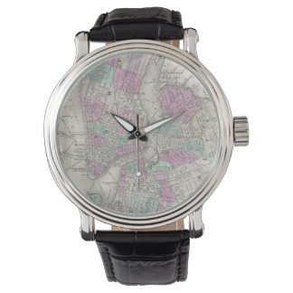 Vintage Map of NYC and Brooklyn (1866) Wristwatch