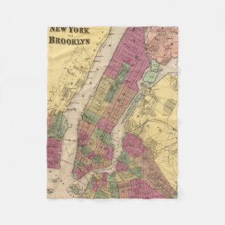 Vintage Map of NYC and Brooklyn (1868) Fleece Blanket
