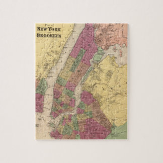 Vintage Map of NYC and Brooklyn (1868) Jigsaw Puzzle