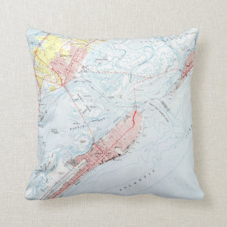 Vintage Map of Ocean City NJ (1952) Throw Pillow