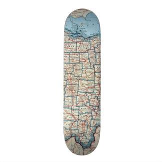 Vintage Map of Ohio (1921) Skate Board Deck