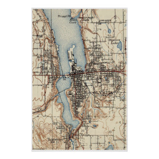 Vintage Map of Olympia Washington (1934) Poster