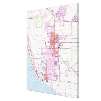 Vintage Map of Oxnard California (1949) Canvas Print