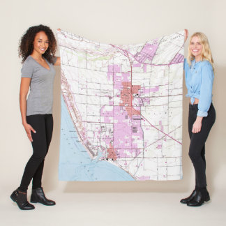 Vintage Map of Oxnard California (1949) Fleece Blanket