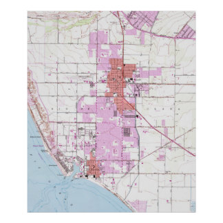Vintage Map of Oxnard California (1949) Poster