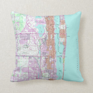 Vintage Map of Palm Beach Florida (1946) 2 Throw Pillow