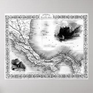 Vintage Map of Panama (1851) BW Poster