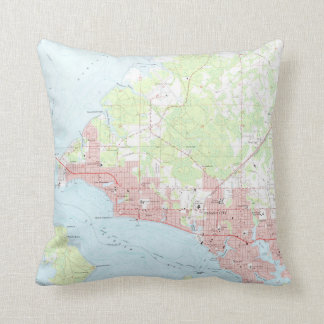 Vintage Map of Panama City Florida (1956) Throw Pillow