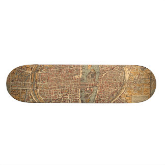 Vintage Map of Paris (1575) Skate Board