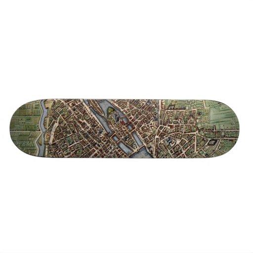 Vintage Map of Paris (1657) Skate Board Deck