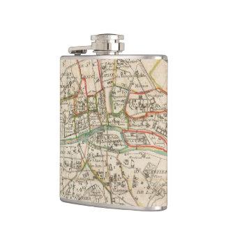 Vintage Map of Paris (1678) Hip Flask