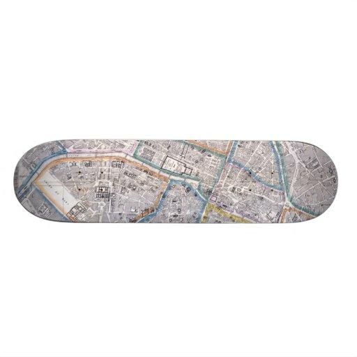 Vintage Map of Paris (1865) Skateboard