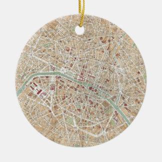 Vintage Map of Paris (1892) Round Ceramic Ornament