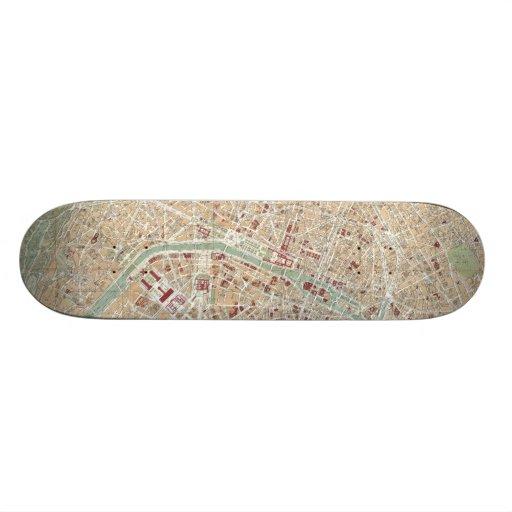Vintage Map of Paris (1892) Custom Skateboard