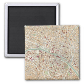 Vintage Map of Paris (1892) Square Magnet