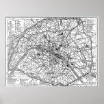 Vintage Map of Paris (1911) Print