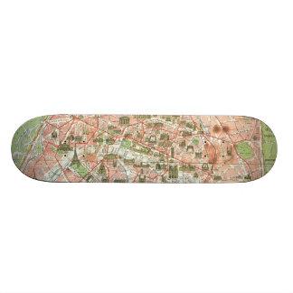 Vintage Map of Paris (1920) Skateboard