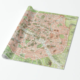 Vintage Map of Paris (1920) Wrapping Paper