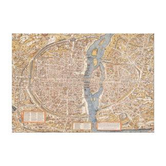 Vintage Map of Paris France Canvas Print