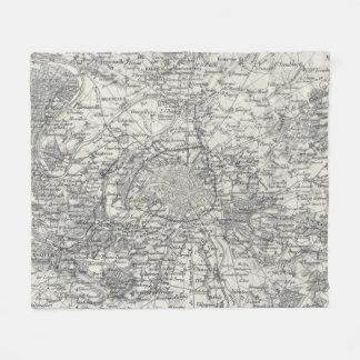 Vintage Map of Paris France Vicinity (1841) Fleece Blanket