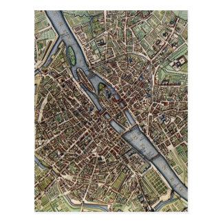 Vintage Map of Paris Postcard